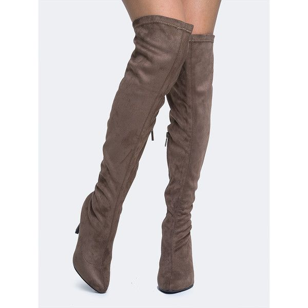 breckelles Over the Knee Boot ($42) ❤ liked on Polyvore featuring shoes, boots, grey, over-the-knee boots, over-the-knee high-heel boots, over knee boots, breckelles boots, pointed toe over the knee boots and over-knee boots