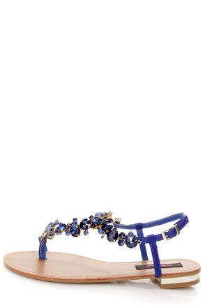 LuLu's Dollhouse Radiant Indigo Blue Rhinestone Studded Thong Sandals in Blue and Tan leather.  $34.00