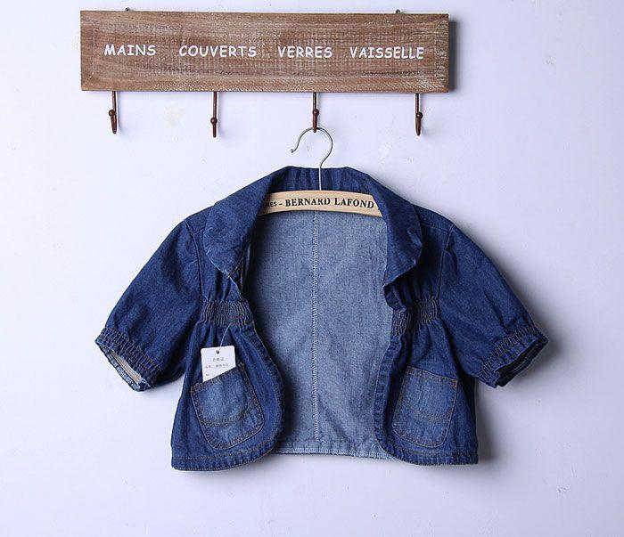 Sweet Style Pocket Trim Short Puff Sleeve Cropped Denim Jacket For