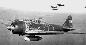 ソロモン諸島上空を飛行する零戦二二型(A6M3)