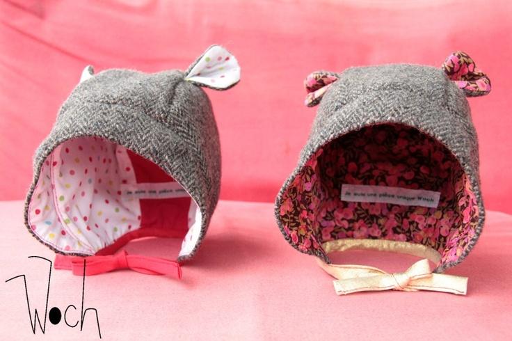 Béguins en laine, tweed gris, et coton imprimé multicolore, pour bébé fille #Woch #hiver #bonnet