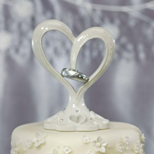 Stylized Heart & Wedding Bands Cake Topper (Pack of 1)