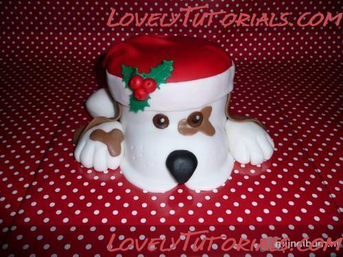 -Dog with Santa's cap cake tutorial