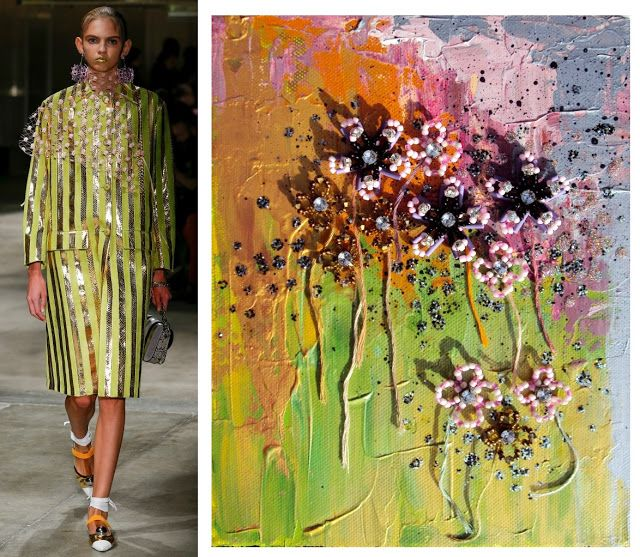 Splash Connect: Prada Spring 2016 Ready-to-wear - Palette Splash - Lime Green / Gold / Pink / Lilac / Black / Silver