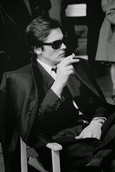 The French actor Alain Delon appears while making 'The Sicilian Clan' in  Rome in Black and White Candid Photographs of Celebrities in the and