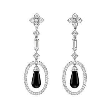 Estate Cartier Diamond & Black Onyx Drop Earrings