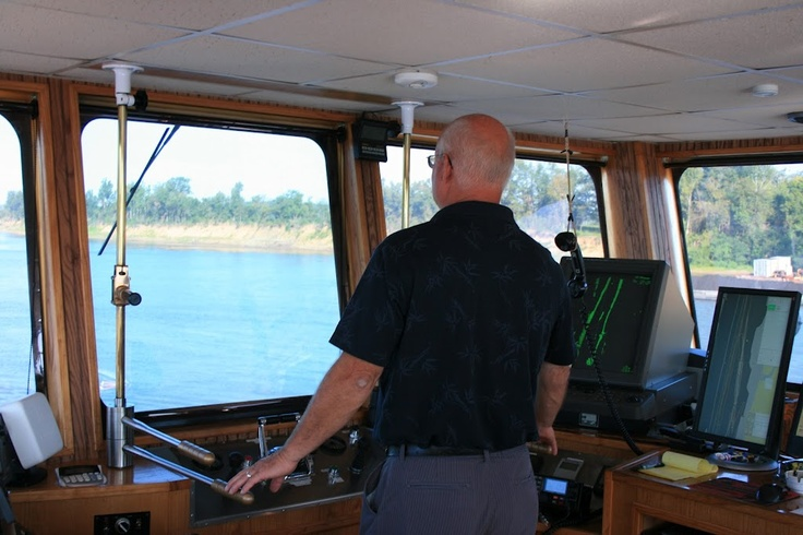 """Look out ahead!  Art Carson """"on the sticks"""" of the M/V Arthur J. Carson, Cumberland River, August 2011"""