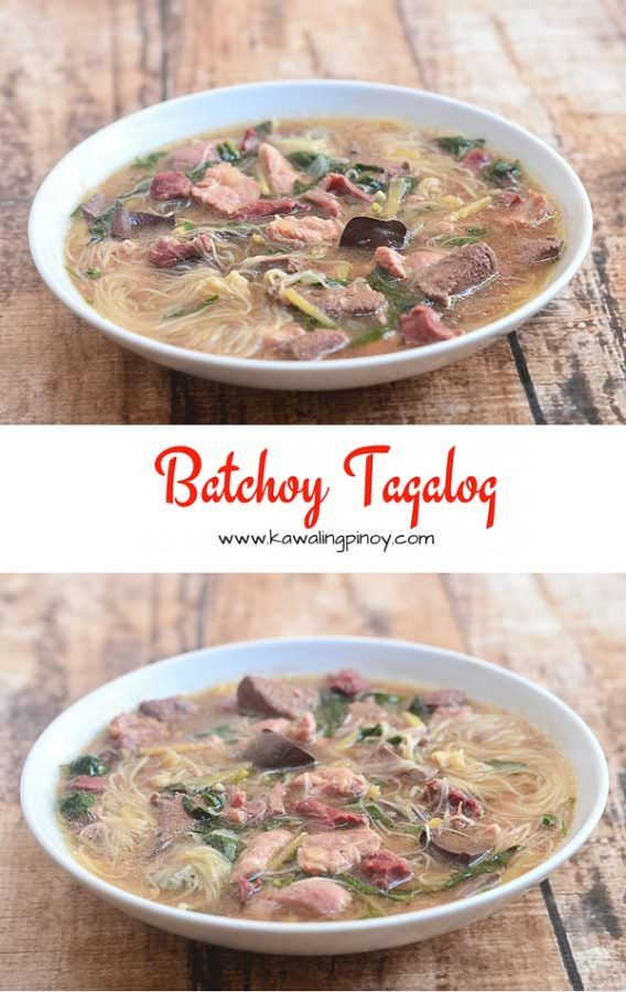 Batchoy Tagalog is a hearty soup made with pork, pork innards, blood and miswa in a ginger-flavored broth; perfect comfort food for cold, rainy days!