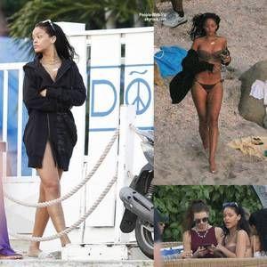 Rihanna a été aperçue sur les plages de St. Barts avec des amis. ( samedi 3 janiver, à St. Barts)