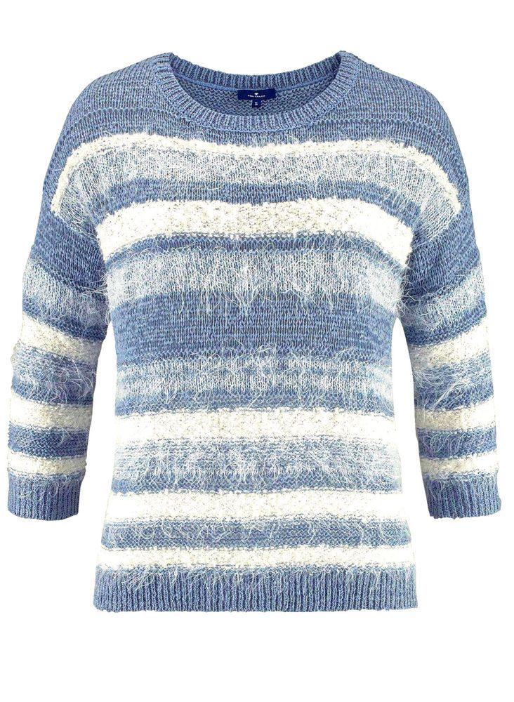 Tom #Tailor Damen #Pullover #Effektgarn #hellblau weiß #Neu
