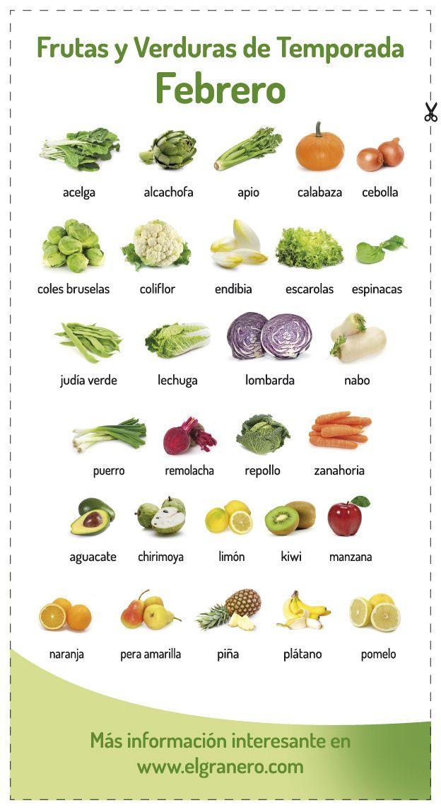 Calendario de Frutas y Verduras de Temporada en Febrero (España). Haz click en la imagen para ir a nuestra web y descargarlo en pdf de alta calidad. #organic #vegetables