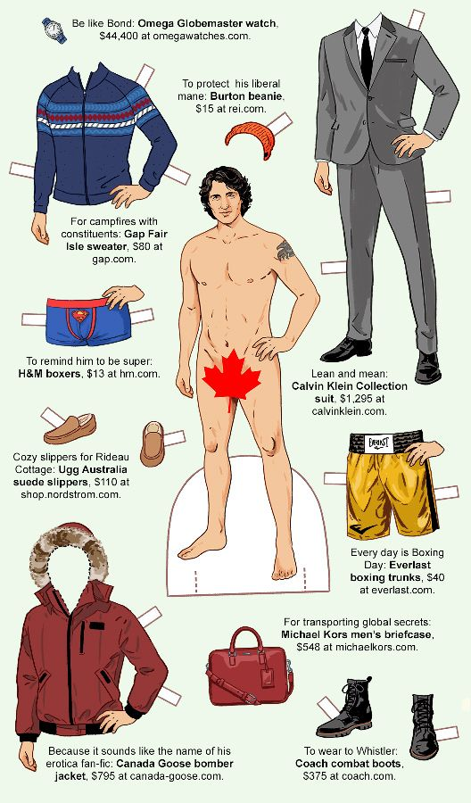 Canadian Prime Minister Justin Trudeau paper doll