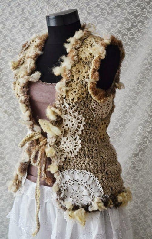 Vesta crosetata pentru femei cu aplicatii Autumn Feelings (178 LEI la irinaindira.breslo.ro): Autumn Feeling
