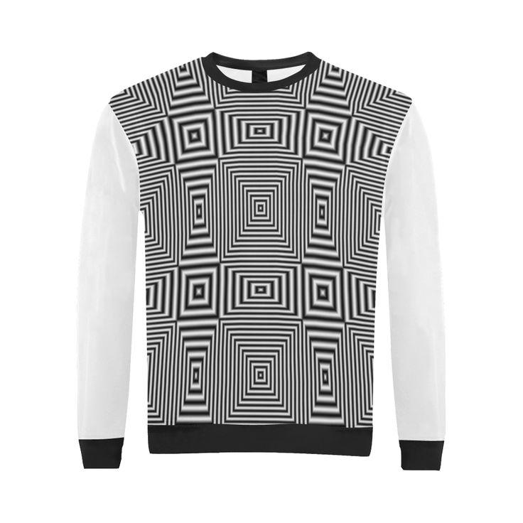 Crewneck Sweatshirt for Men by Natalia Bykova on  Artsadd. #Artsadd #sweatshirt #crewneck #geometric #menswear  #mensclothing #mens #blackandwhite #blackwhite