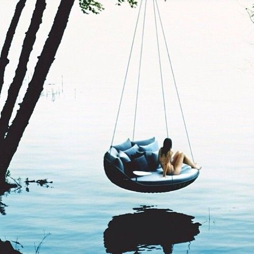 There 39 s a time to be in a comfortable swing over a river for Swing over water