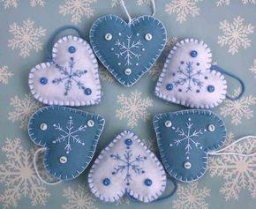 Cuore di feltro natale ornamenti fatto a mano di PuffinPatchwork