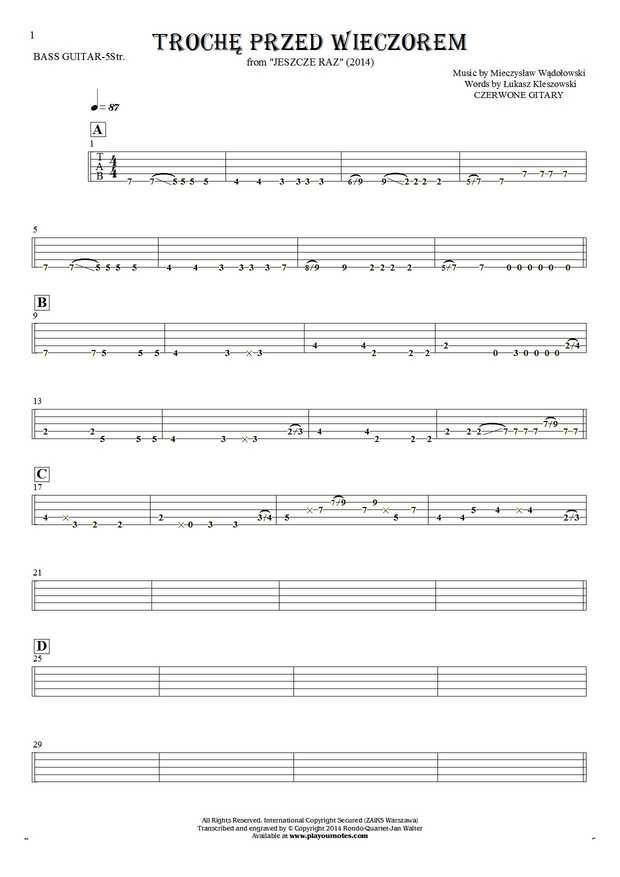 Trochę przed wieczorem - Czerwone Gitary. From album Jeszcze raz (2014). Part: Tablature for bass guitar (5-str.)