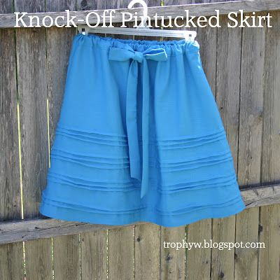 Sewing 101: Week 5 - All about pin tucks and a knock-off tutorial for this pretty blue skirt from the Loft