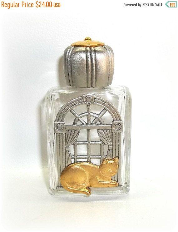 Cat Window vintage Perfume Bottle Jonette Clear by dollherup