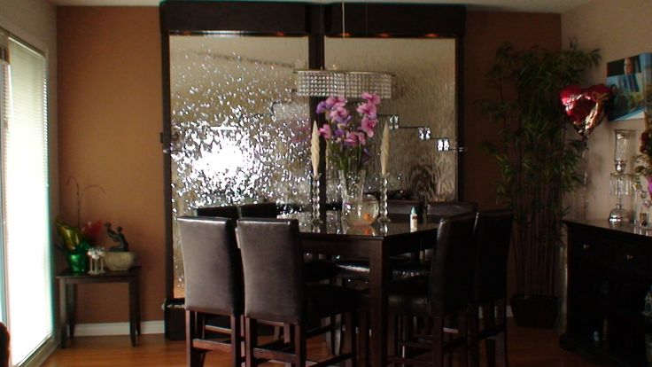 build custom water wall glass mirror indoor living room idea