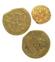 """Persian. 22kt gold Islamic dinars with inscriptions, prayers from the Holy Book Koran.  Size: 1/2"""" - 3/4""""  Date: 700-900 AD"""