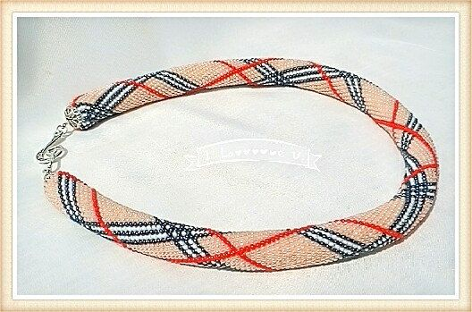 Жгут из бисера вязанный крючком.  Art Beadwork, Gift for Her, #Burberry, harness necklace, bead necklace, knitted beads Almost every self-respecting fashionista is familiar with the famous burberry cage. But... #burberry #birthday #anniversary ➡️ http://jto.li/5M6Dw