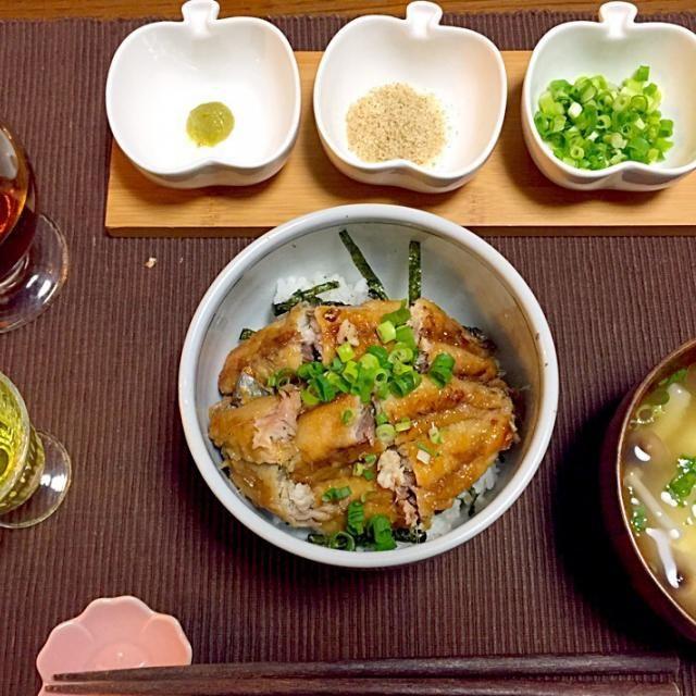 鰻は中々手が出せないので…(・ω・) かなり美味しくて満足(^○^)♡  〆は椒房庵のお出汁で お茶漬けです♪ - 7件のもぐもぐ - 鰯のひつまぶし、味噌汁、リンゴ酢 by wwraaww