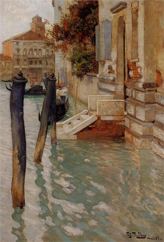 Frits Thaulow (Norwegian 1847–1906) [Impressionism] On the Grand Canal, Venice, 1885.