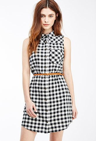 Belted Gingham Shirtdress | Forever 21 - 2049258810