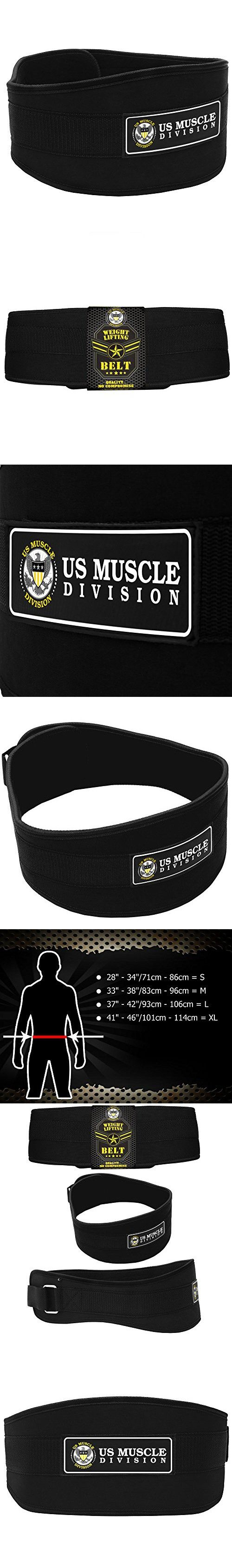 """Weight Lifting Belt - US Muscle Division Back Support Belt + Easy Open Velcro Hook And Loop Fastener - Double Stitched Weight Belt Featuring Soft Feel 6"""" Wide Padded Neoprene"""