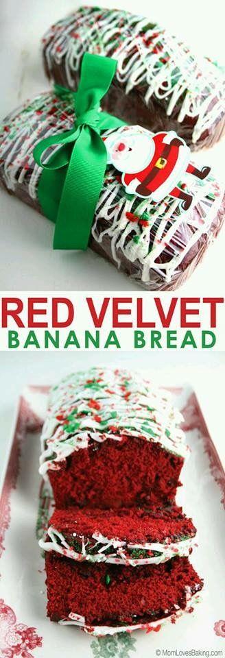 Red Velvet Banana Bread --  Panque Red Velvet, ideal para regalar esta navidad.