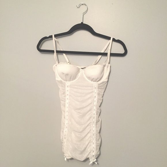 Victoria Secret off white Lingerie top 34C White mesh lingerie! worn once for a themed party, in excellent condition! Victoria's Secret Intimates & Sleepwear Chemises & Slips