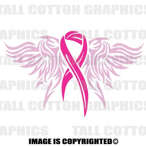 Angel Wings With Hot Pink Breast Cancer Ribbon Vinyl Decal