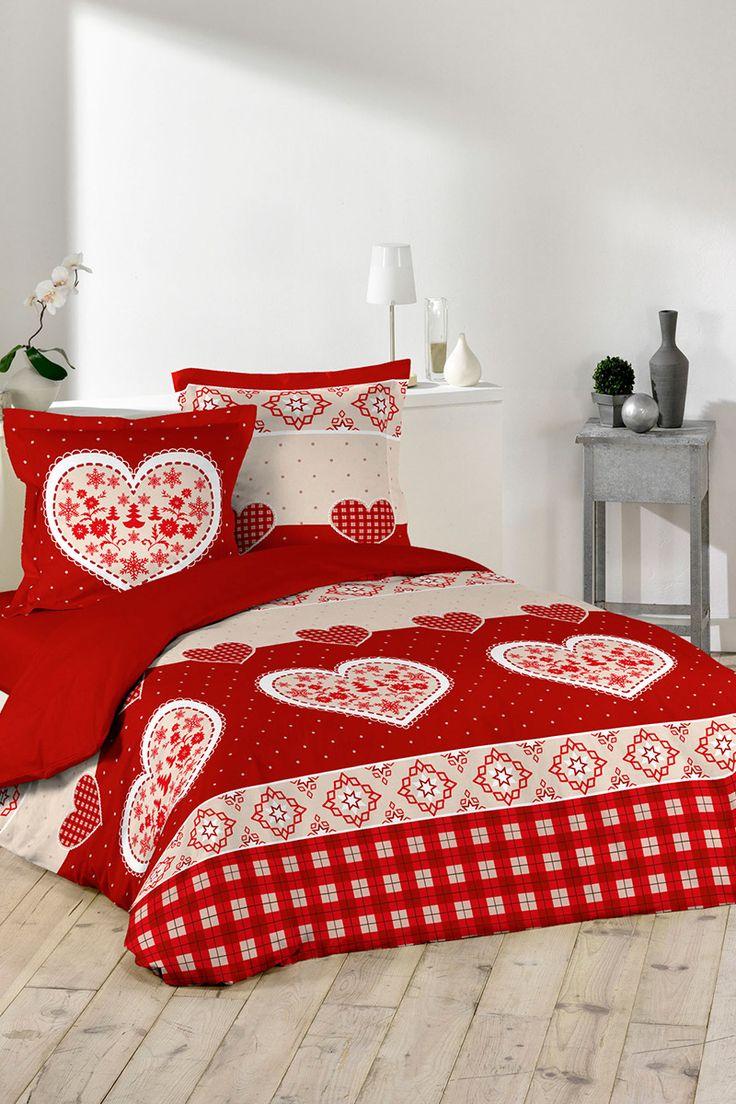 Venda Douceur d'intérieur / 31662 / Têxtil de cama / Conjuntos geométricos e decorativos / Conjunto de edredão Love Today Vermelho e bege