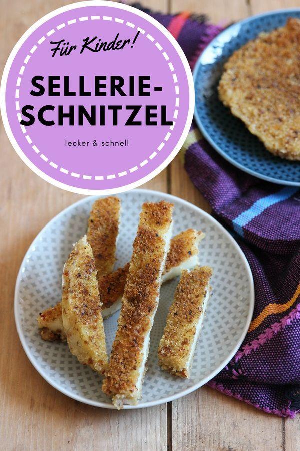 Sellerieschnitzel Rezept für Kinder - so lecker kann Sellerie schmecken mit einer Panade aus Semmelbrösel. In Stifte geschnitten sind die Sellerieschnitzel perfekt für Breifrei und baby-led weaning.   #fingerfood #vegetarisch