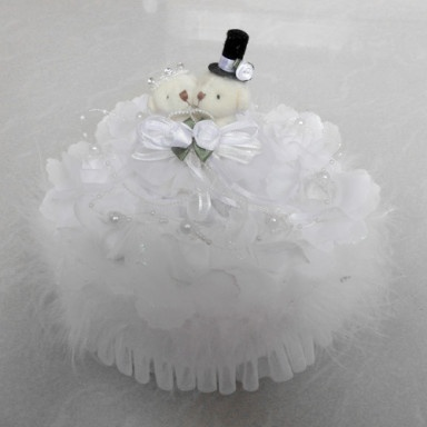 Music Box Wedding Ring Pillow With Teddy Bear And White Feather – US$ 18.39