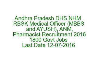 Andhra Pradesh DHS NHM RBSK Medical Officer (MBBS and AYUSH), ANM, Pharmacist Recruitment 2016 1800 Govt Jobs