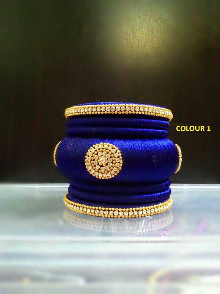 Royal Blue Studded Bangle Set
