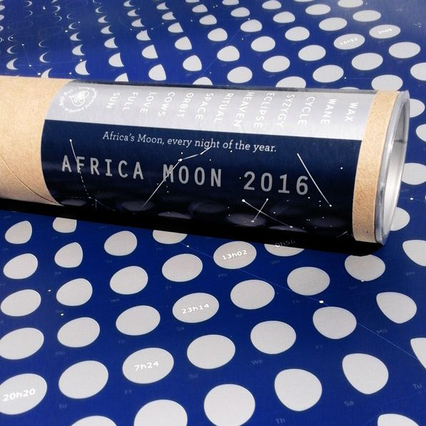 phases of the moon poster:  Africa Moon 2016, showing the moon for every night of the year