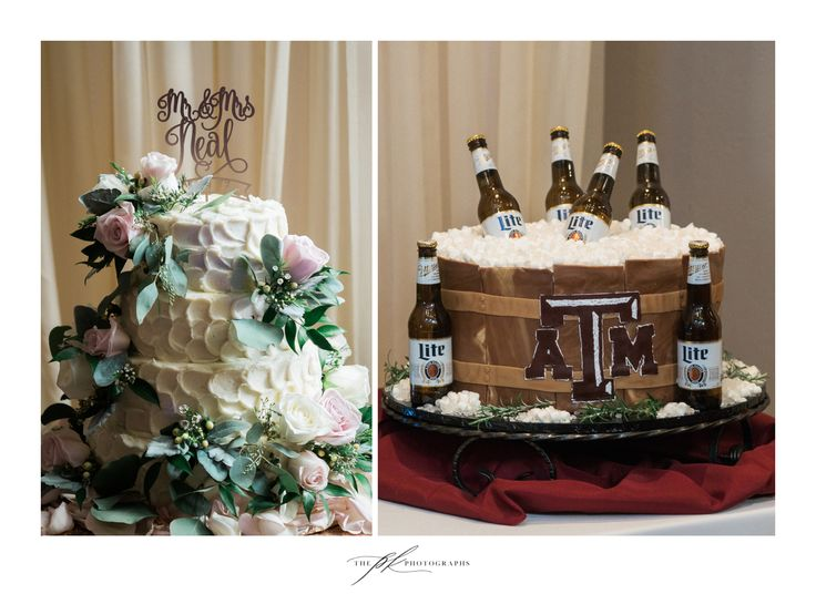 Have your cake, and eat it, too! A gorgeous white floral wedding cake for the bride, and a custom Texas A&M beer cooler cake for the groom! Such a creative groom's cake, complete with Miller Lite bottles!