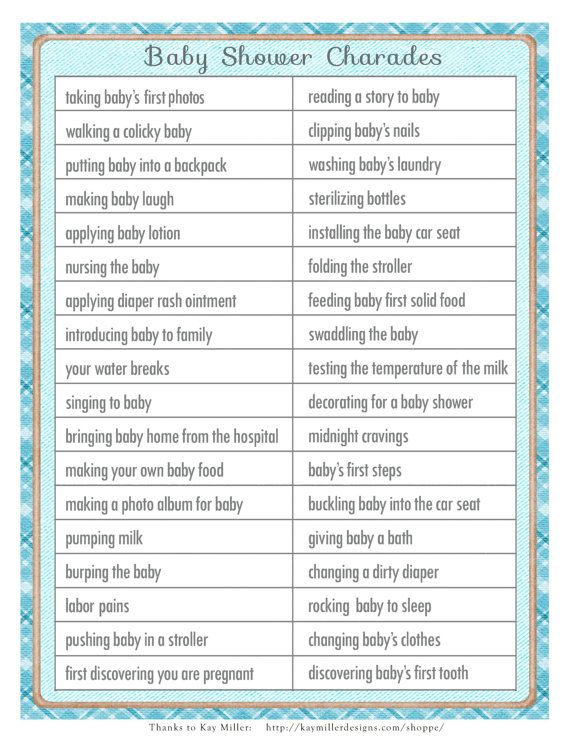 Charades Baby Shower In A Vintage Style With Blue Accents Diy Printable Party Fun Activity