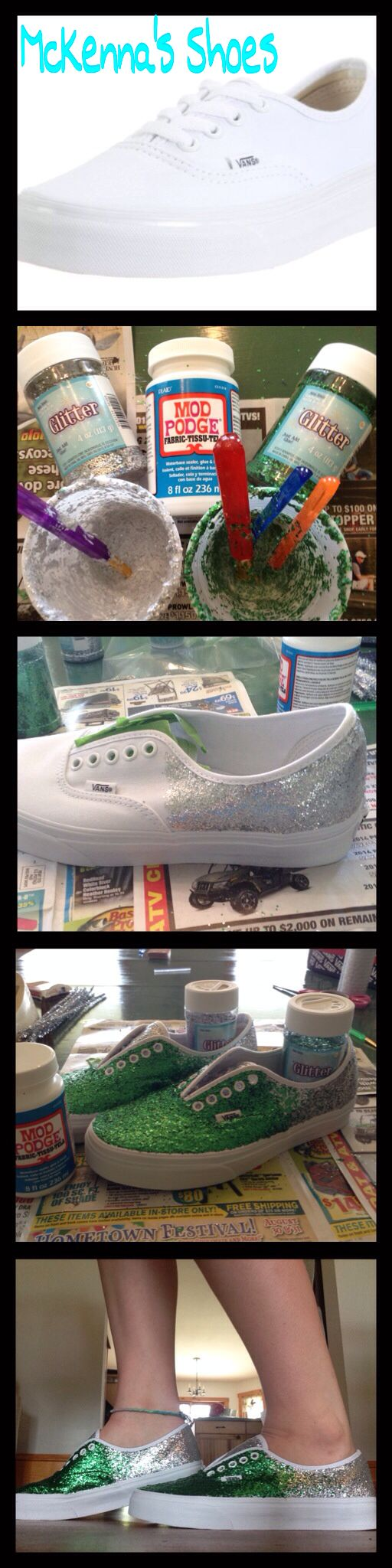 DIY School Spirit Vans: My school color is weird and I wanted shoes for games... Solution DIYing it up! Supplies: Brushes, shoes, 4 oz. fabric Mod Podge, and Glitter. Mix the glitter and Mod Podge together until really sparkley. When done, do 4 layers of sparkles but wait 15-20 minutes for each layer to dry. Then, let dry for 48 hours. After that, spray with tent waterproof spray and let dry for 48 hours. I did vans because I really like them, you can do Toms, Bobs, Keds, or knock offs!❤️