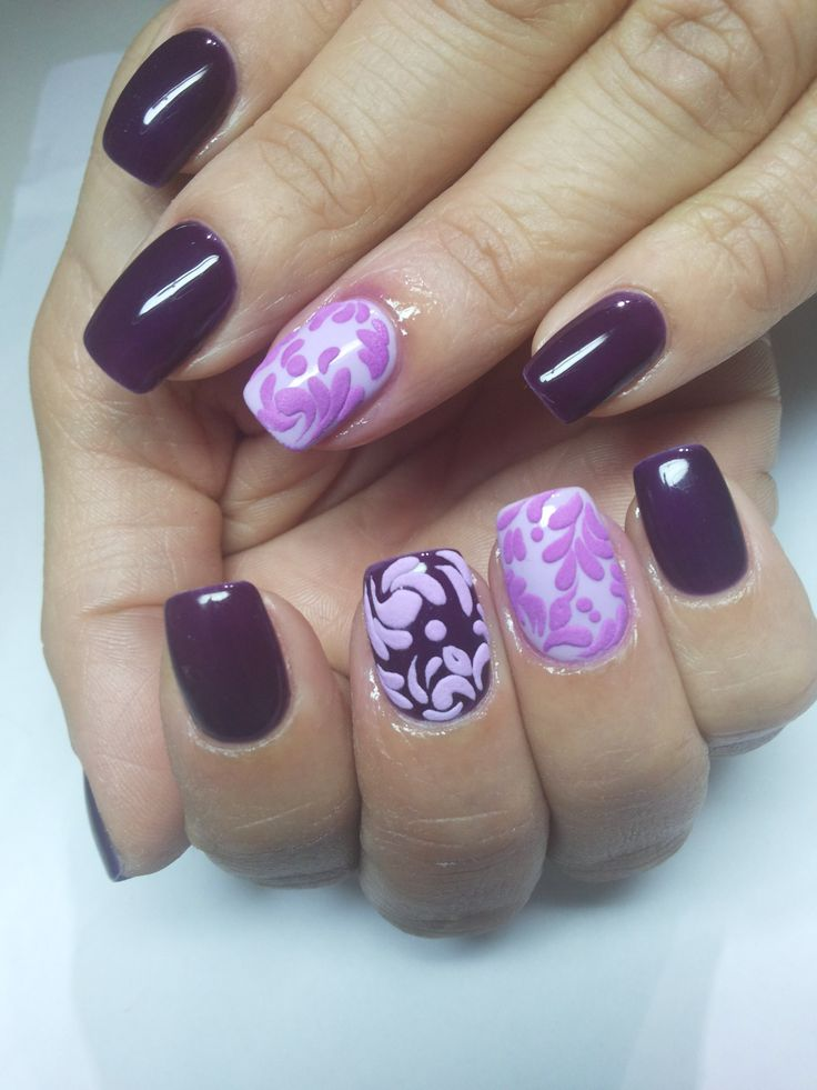 Autumn nails, Christmas nails, Everyday nails, flower nail art, Ideas of winter nails, Lilac gel nail, Nails with curls, New Year nails 2017