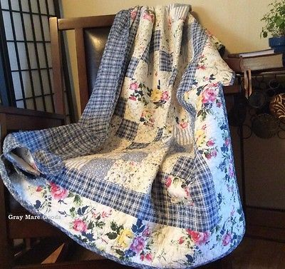 Cottage-Throw-Blanket-Blue-Quilt-Ivory-Shabby-Chic-Decor-Quilts-For-Sale-Country