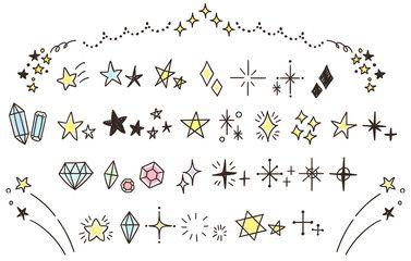 ベクター キラキラ星のかわいい手描きアイコンのセットカラー点