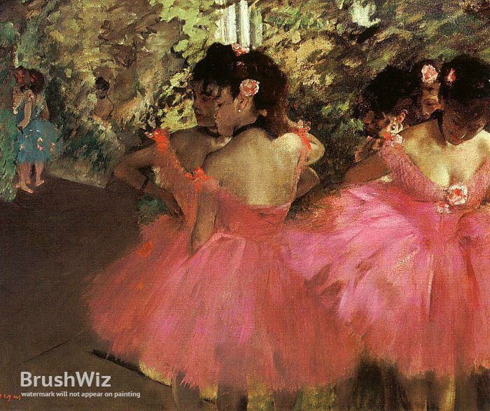 Dancers In Pink by Edgar Degas - Oil Painting Reproduction - BrushWiz.com