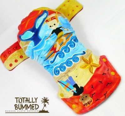 Totally Bummed Nappies - embellished cloth nappy.