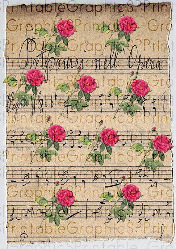Digital wrapping paper gift wrapping vintage roses music for Paper roses sheet music free