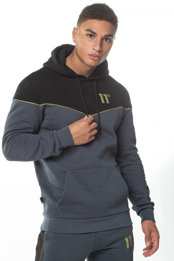 Piping Pullover Hoodie Black Anthracite Gold Hoodies Black Hoodie Nike Sports Jacket