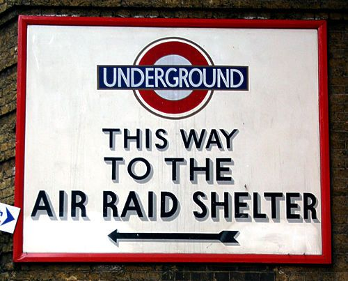 This way to the Air Raid Shelter ~ London Underground - not my London thank God…